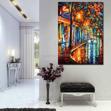 PALETTE KNIFE Cityscape Modern Wall Art Textured Oil Painting On Canvas handpainted for home decoration