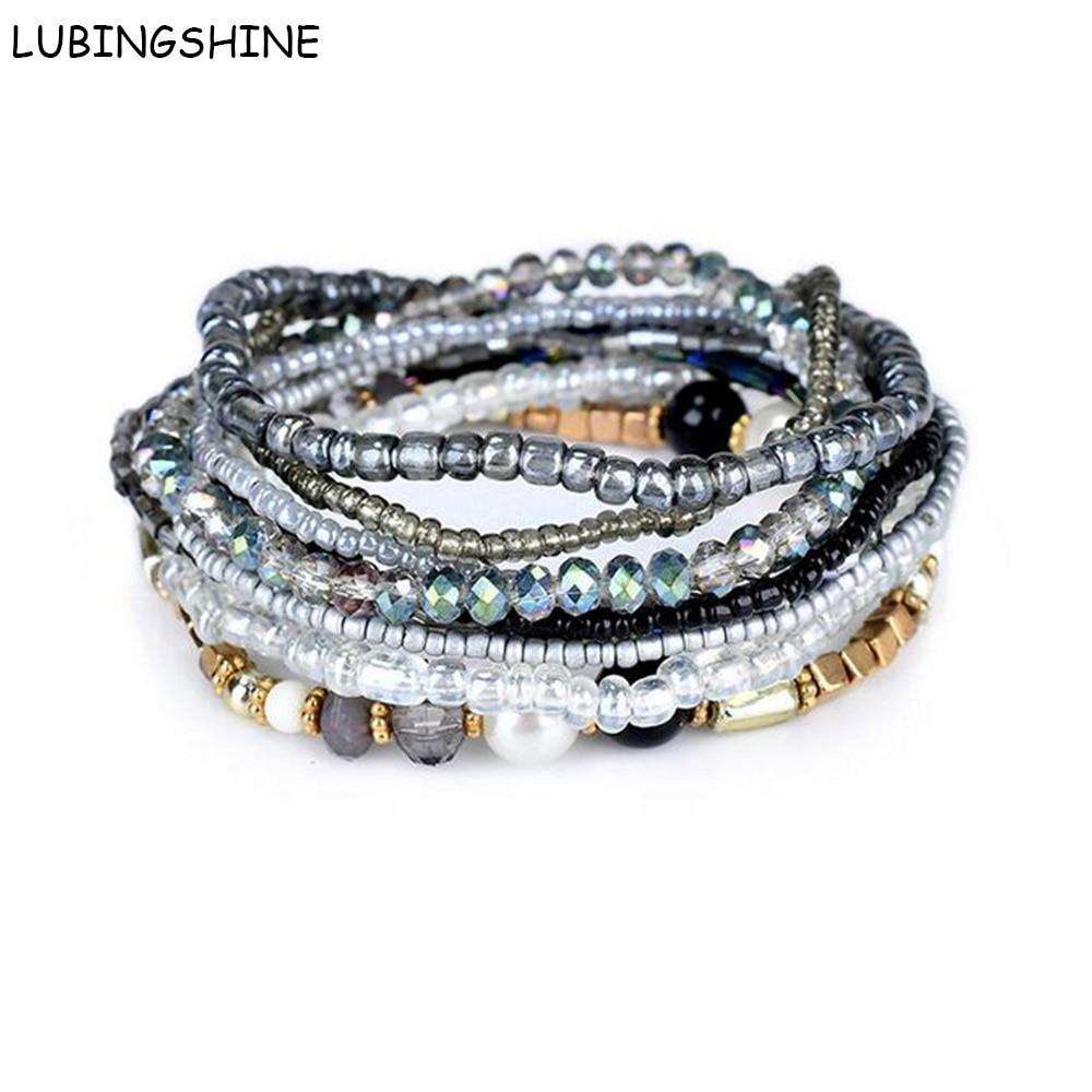 Chain & Link Bracelets Multilayer Beads Rhinestone Bracelets Strand Stretchy Bangle For Women Friendship Bracelet Elastic Jewelry