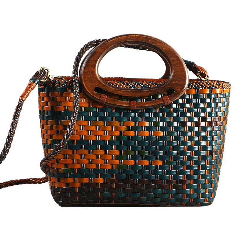 Genuine Leather women bags for women Fashion dish blue bag 2019 new retro hit color leather handmade hand-woven handbagGenuine Leather women bags for women Fashion dish blue bag 2019 new retro hit color leather handmade hand-woven handbag
