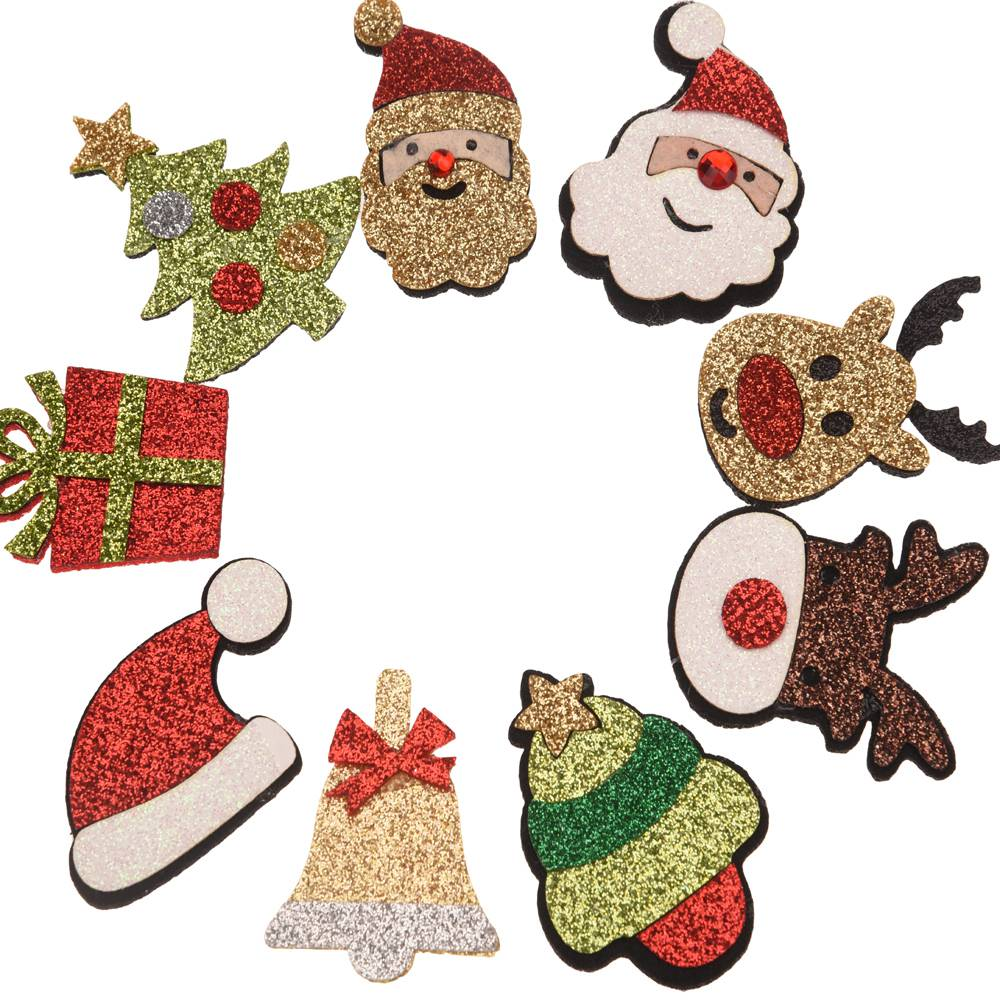 24PCS Boutique Christmas Accessories Christmas Santa Claus Wall decoration Flower DIY Accessory No Hair Bows Hairclip for Band