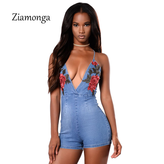 ab66dbce2af Ziamonga Summer Sexy Embroidery Rose Denim Jumpsuit Bandage Backless  Bodycon Playsuits Fashion Jeans Rompers Womens Jumpsuit