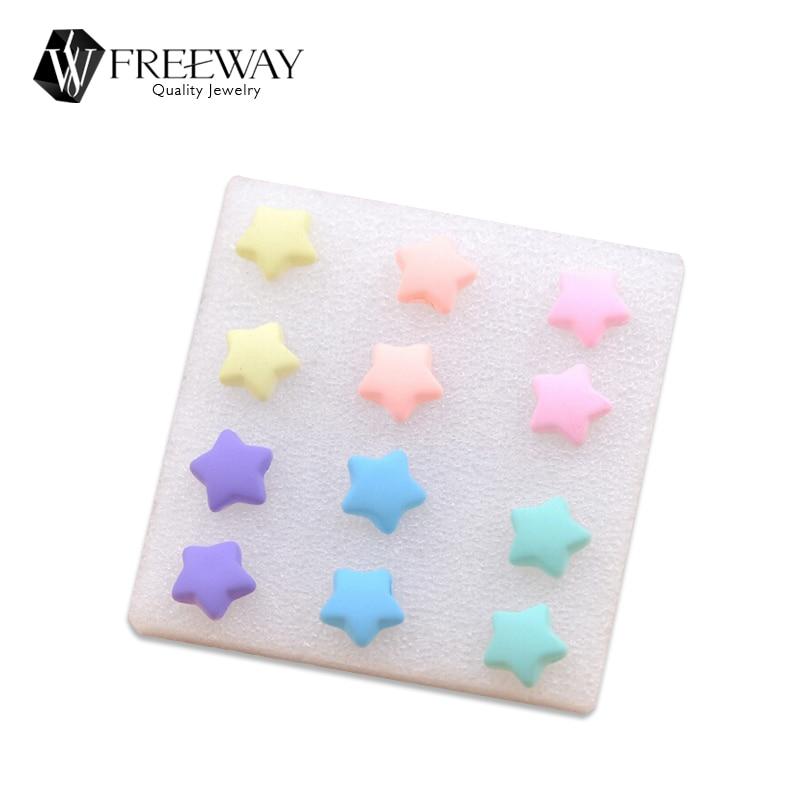 2016 Hot Fashion Resin Stud Earrings Heart/Pinks Cheap Jewelry For Children Bijoux Set Colorful Popular Pattern Earrings Gift