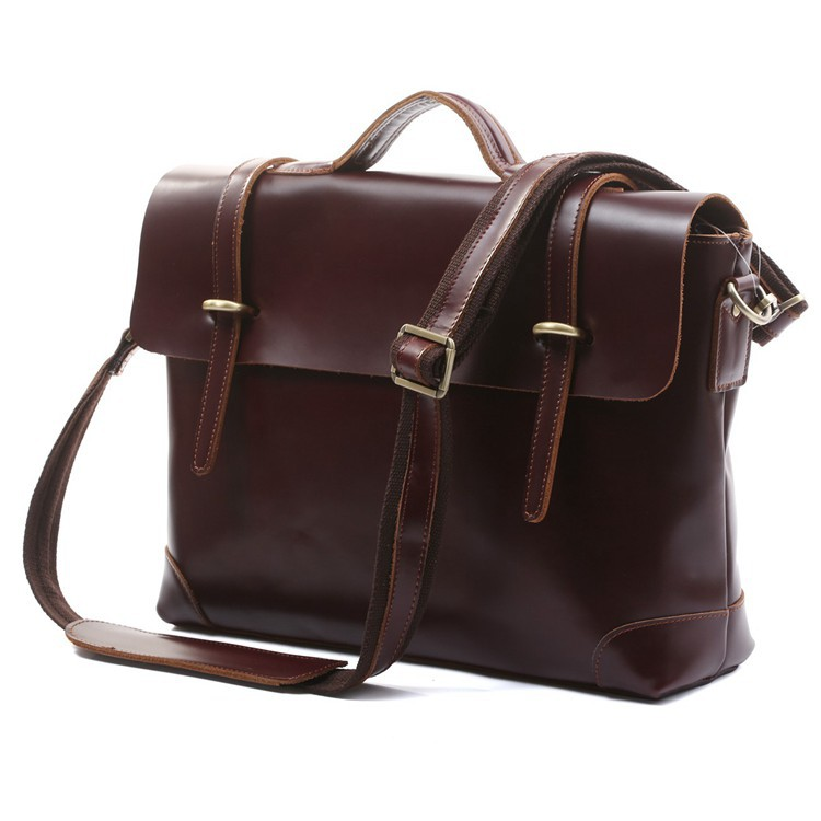 Hot Sale 100% Genuine Leather Dark Coffee Men Messenger Bags Briefcase Laptop bag Shoulder Bags Dropship 5Pcs/Lot # 7082X  цены
