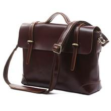 Hot Sale 100% Genuine Leather Dark Coffee Men Messenger Bags Briefcase Laptop bag Shoulder Bags Dropship 5Pcs/Lot # 7082X