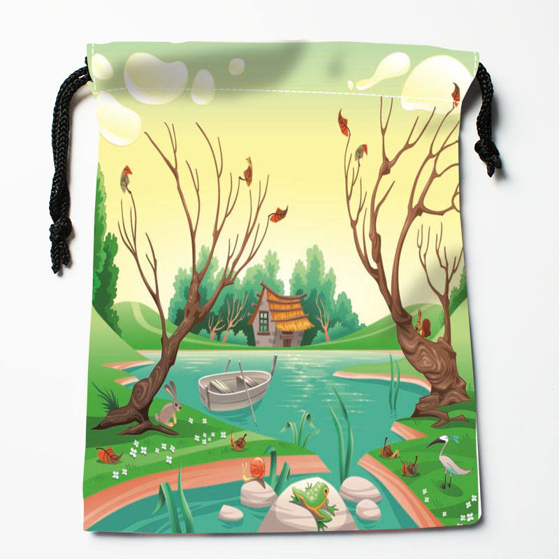 Custom Cartoon Animals Printed Satin Bag Drawstring Gift Bags More Size Storage Custom Your Image 27x35cm