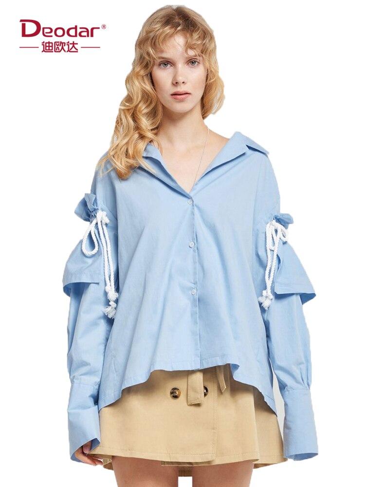 Deodar doux volants manches chemise paresseux Style décontracté un sentiment de fraîcheur dans le bleu ciel montrant le vent de la jeunesse
