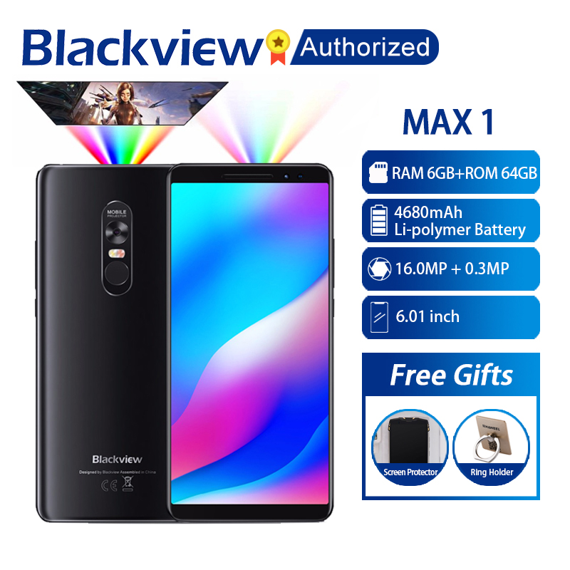 Blackview MAX 1 MT6763T Android 8.1 Cellphone Mini Projector Portable Home Theater 6GB+64GB NFC OTG LTE 6.01'' Smartphone MAX1