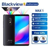 Blackview MAX 1 MT6763T Android 8,1 мобильный телефон Мини проектор передвижной домашний кинотеатр 6 ГБ + 64 ГБ NFC OTG LTE 6,01 ''смартфон MAX1