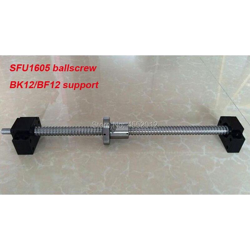 Vis à billes SFU1605 L = 1200 1500mm SFU1605 vis à billes roulée avec écrou à billes simple pour pièce de CNC + support d'extrémité BK/BF12