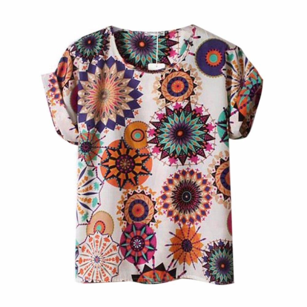 HTB1Lo81RXXXXXb3XVXXq6xXFXXXZ - T-shirts O Neck Bird Printed Women Top Colorful Short Sleeve