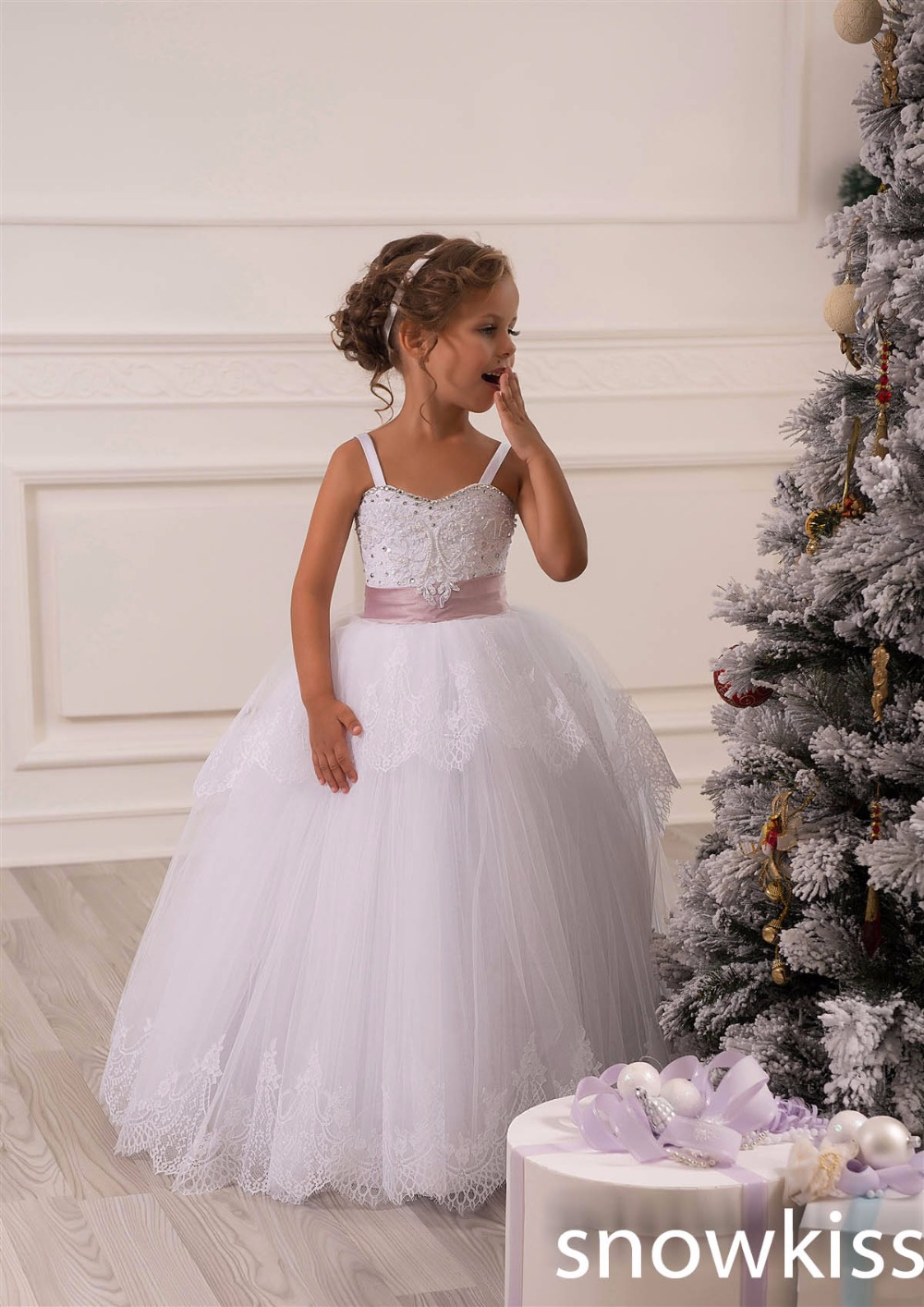 New Cute White Baby party frocks Princess Ball Gown with Appliques Flower Girl Dresses for wedding occasion kids evening dress