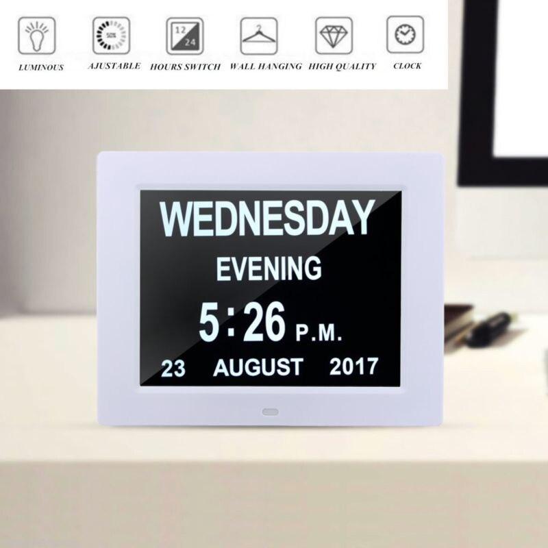 8 LED démence calendrier numérique jour horloge grand temps couleurs jour/semaine/mois/année - 5