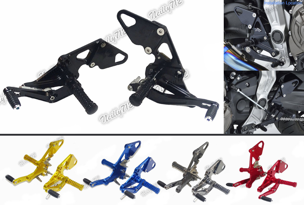 waase CNC Adjustable Rider Rear Sets Rearset Footrest Foot Rest Pegs For Yamaha MT-07 MT07 FZ-07 FZ07 2013 2014 2015 2016 2017 цена