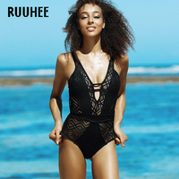 RUUHEE Swimwear Women Sexy Mesh One Piece Swimsuit Bodysuit Brand Bathing Suit Swimming Suit Monokini Maillot