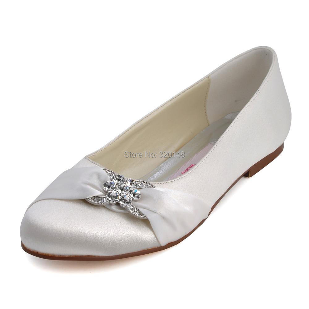 7d356d98e95d8 EP31015 Woman Flat Fashion Ivory Bridal Shoes Peep Toe Ladies' Shoes  Rhinestone Flower Plus Size Satin Wedding Shoes Woman FlatsUSD 39.06/pair
