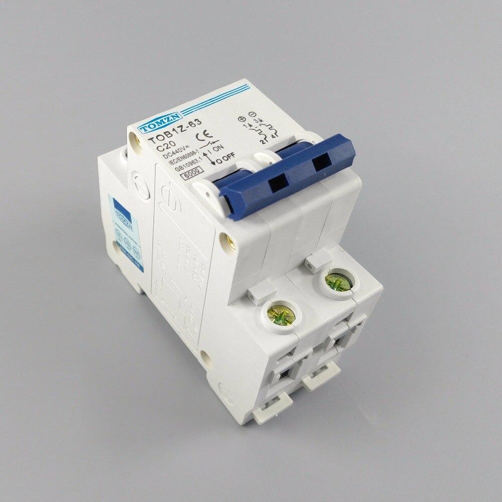 2P 20A DC 440V Direct Current   Circuit breaker MCB C curve