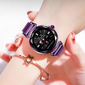 Image 4 - SCOMAS أحدث الأزياء H2 ساعة ذكية النساء 3D الماس الزجاج معدل ضربات القلب ضغط الدم النوم رصد أفضل هدية Smartwatch