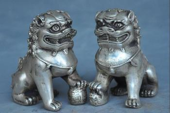 "2"" china silver fengshui Auspicious wealth foo dog lion Guardian beast statue"