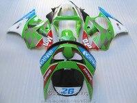 Bodywork plastic fairing kit for Kawasaki Ninja ZX6R 98 99 green white red fairings set ZX6R 1998 1999 HN18
