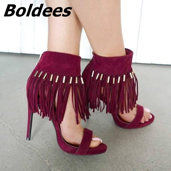 Chic Burgundy Suede Ankle Fringe Sandals Sexy Open Toe Ankle Wrap Tassel Stiletto Heel Shoes Trendy Dress Sandals New Arrival - 2