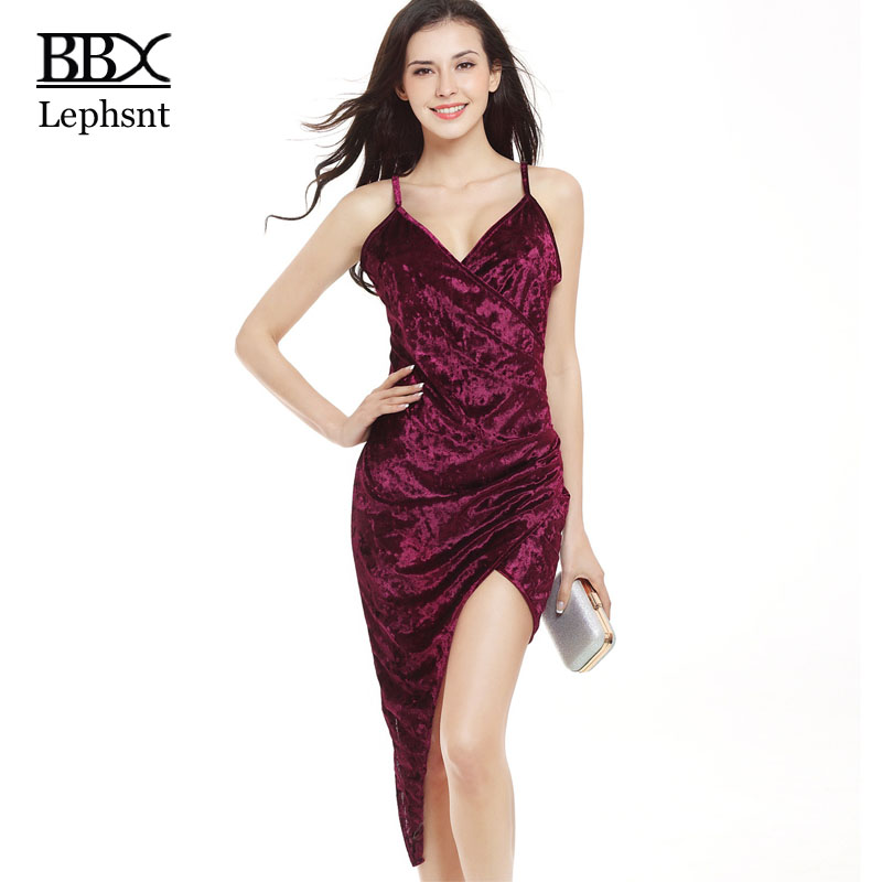 BBX Lephsnt sheath spaghetti strap dress 2018 women summered dress V-neck solid asymmetrical sexy dress club wear mujer B83068 ...