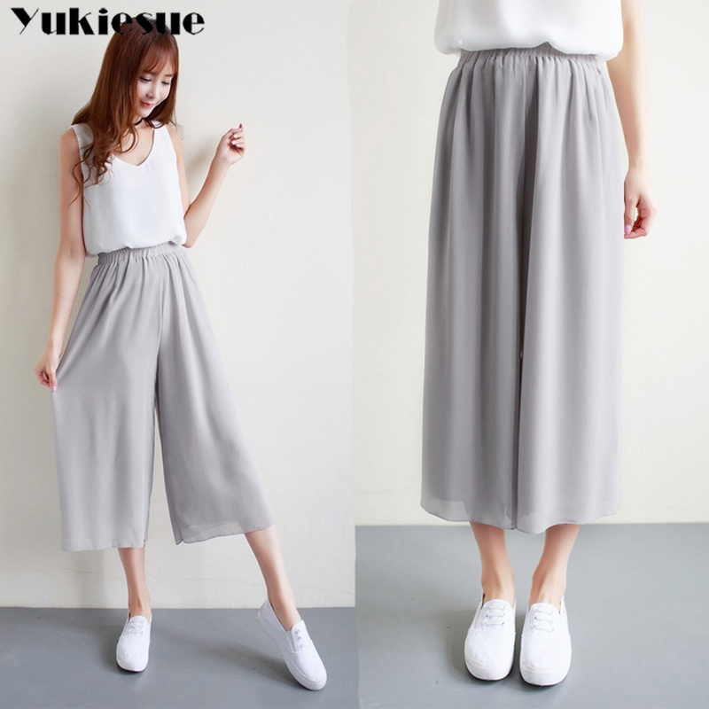 Pleated chiffon women's   pants     capris   with high waist wide leg   pants   for women summer 2019 trousers woman   pants   female Plus size