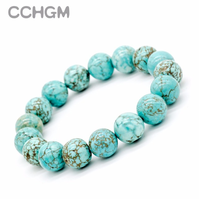 2017 New Natural Turquoises stone beads bracelets for women round beads bracelet