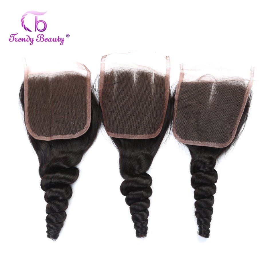 Trendy Beauty Hair Brazilian Loose Wave 120% Destiny Swiss Lace 8-22 Inch Non-Remy Human Hair Natural Color 4*4 inches Closure