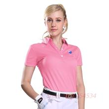 PGM High Quality Women Golf Sport Polo Shirts Lady Short Sleeve Cotton Feminina Pra Golfe Womens Golf Clothes S-XXL Quick Dry