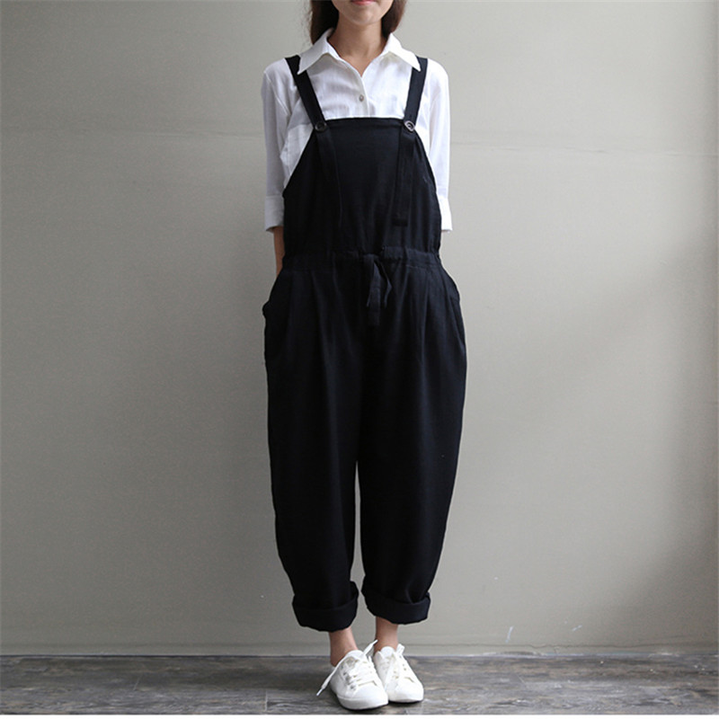 dc834f0c2fb81 Casual Black Women Linen Rompers Vintage Loose Female Harem Pants New  Summer Spring Slim Lady Full Length Clothing-in Jumpsuits from Women s  Clothing   ...