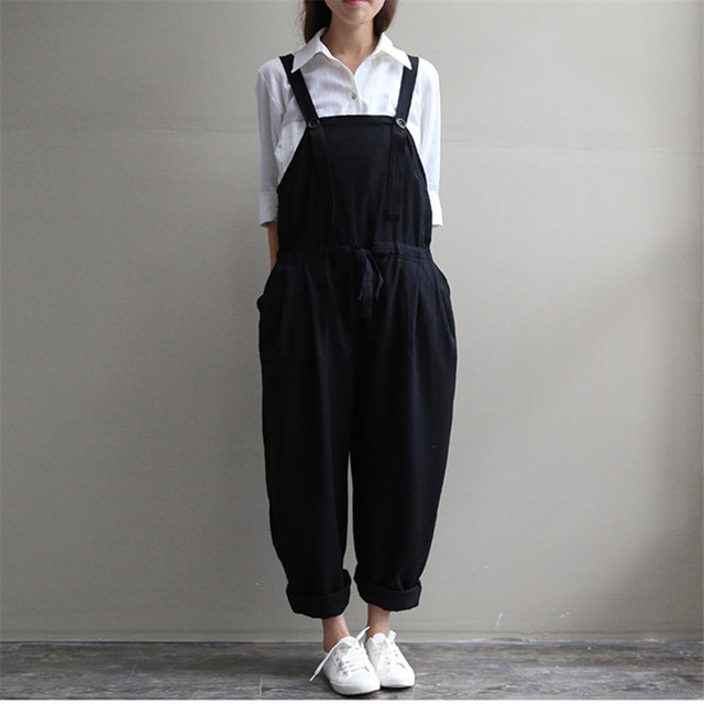 Casual Black Women Linen Rompers Vintage Loose Female Harem Pants New Summer&Spring Slim Lady Full Length Clothing