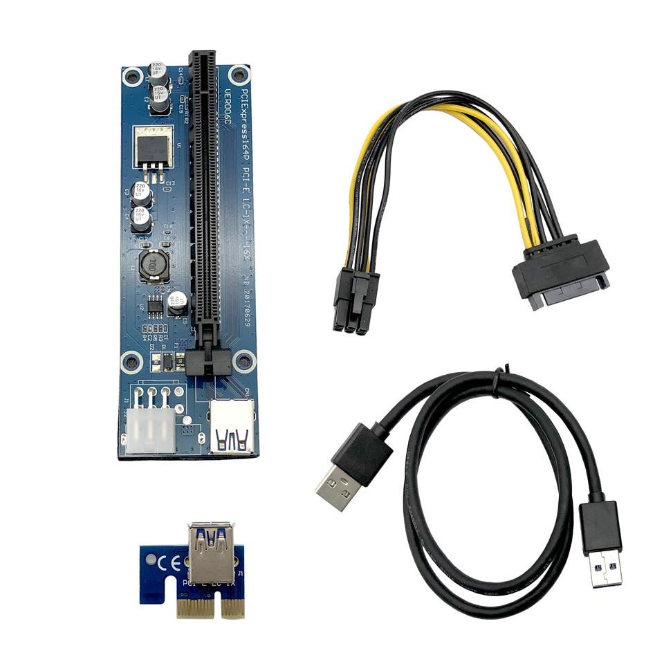 5pcs/Lot PCI-E Riser Card 1x to 16x PCI Express Riser Card Adapter USB 3.0 Data Cable 6-Pin Power Supply for BTC Miner Videocard