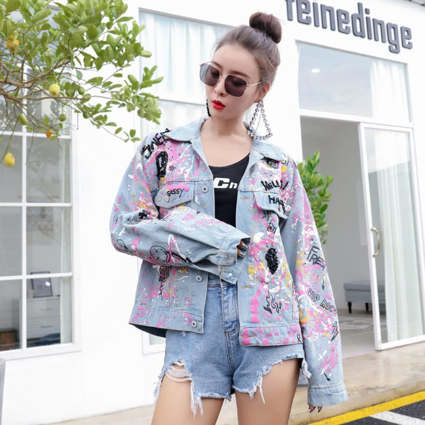 cartoon Denim jackets female fashion brand Personality graffiti print beading jacket was thin short slim outwear wq1289 dropship