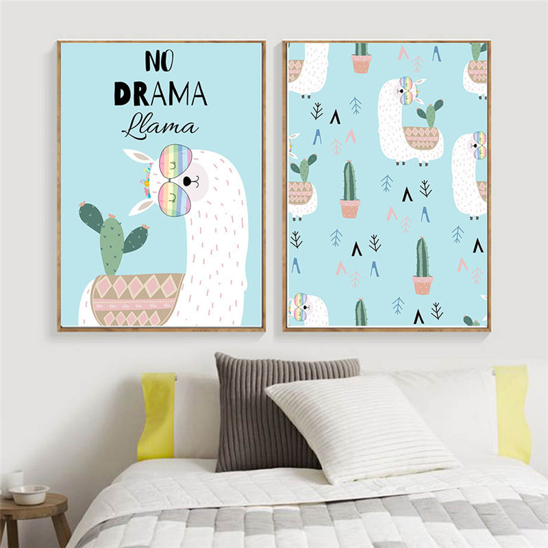 Cartoon Cute Animal Llama Home Decor Nordic Canvas Painting Baby Kids Children Bedroom Wall Art Print Poster Minimalist Picture Painting Calligraphy Aliexpress