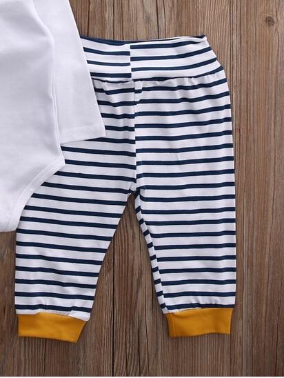 Summer 2017 Newborn Baby Girls Boy   Striped Pants baby boy clothing girls slogan print tee with striped pants