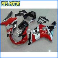 ABS мотоцикла инъекций Пластик обтекатель комплект для SUZUKI GSXR 1000 2000 2002 красный