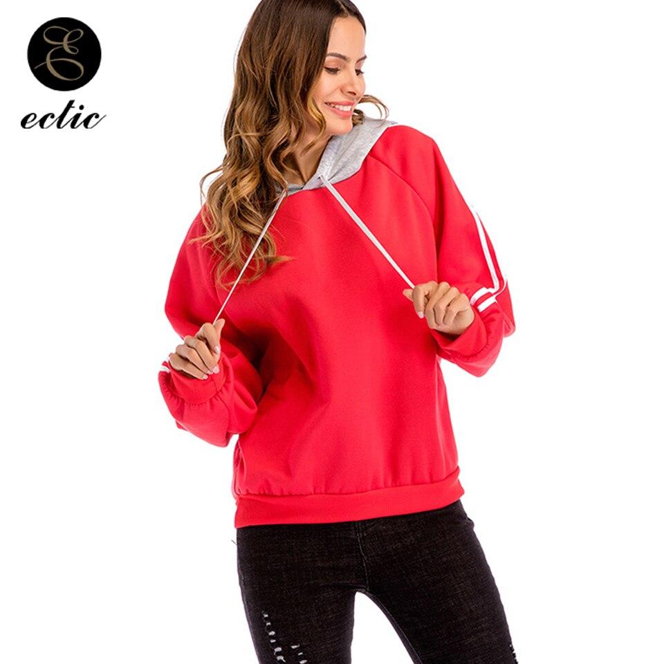 Detail Feedback Questions about Poleron Mujer 2018 Women Striped Decoration Pullover  Sweatshirt School Hoodie Plain Color Block Hoodie Gym Sport Kpop ... e033c8da66bb