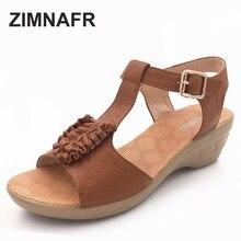 Zimnafr бренд 2017, летние новые женские сандалии натуральная кожа wwedges склон мама сандалии Большие размеры удобные женские сандалии