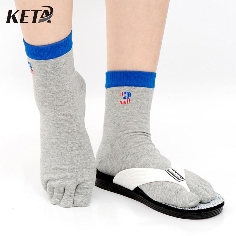 KETA Fashion Casual Men Toe Socks Colorful Printed Funny Socks Cotton For Male Breathable Five Finger Toe Socks 4Pairs/lot