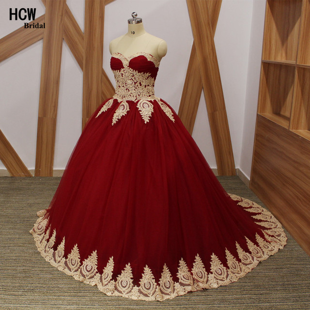 Vintage Burgundy Quinceanera Dress With Gold Lace 2019 High Quality