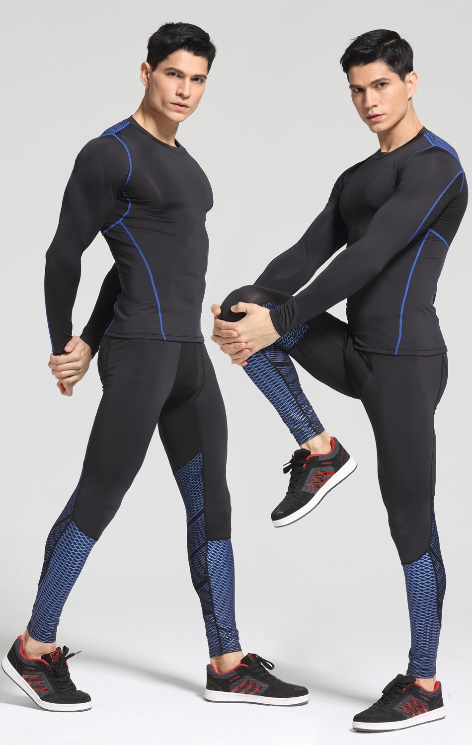 Foto on 2 man of t-shirt Men's compression t-shirt & pants for sport. 2 pieces Men's compression t-shirt & pants for sport