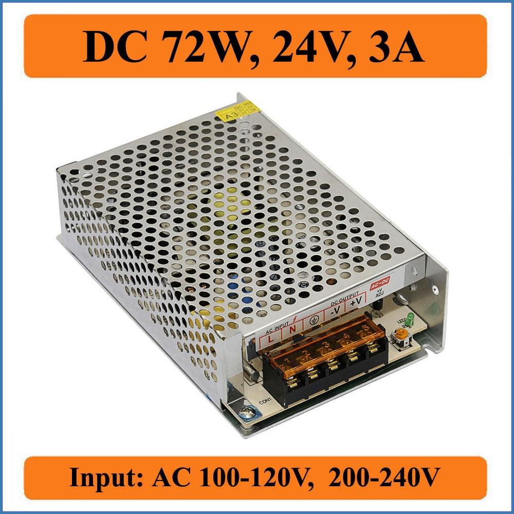 72W 24V 3A Switching Power Supply AC Input 100V-240V to DC 24V Output  Voltage Transformer For LED Driver Strip lights Display ac 85v 265v to 20 38v 600ma power supply driver adapter for led light lamp