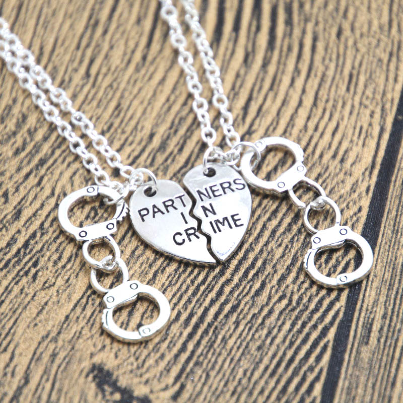 24pcs/lot 2 Partner In Crime Necklaces necklace Split Heart Best Friends BFF charm necklace geek silver tone image