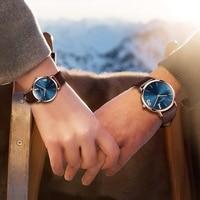 OLEVS Ultrathin Design Lovers Waterproof Watch Quartz Women Men Wristwatch Leather Couple Watches Romantic Christmas Gifts