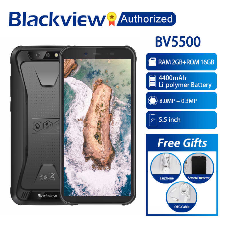 "Blackview BV5500 móvil IP68 impermeable teléfono inteligente 5,5 ""Pantalla 2 GB RAM 16 GB ROM Android 8,1 MTK6580P Quad Core 1,3 GHz 8MP 3G OTG"