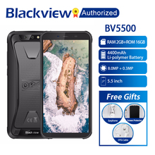 "Blackview smartphone bv5500 mtk6580p, telefone celular, a prova d água, tela 5.5 "", 2gb ram, 16gb rom, android 8.1 1.3ghz 8mp 3g otg"