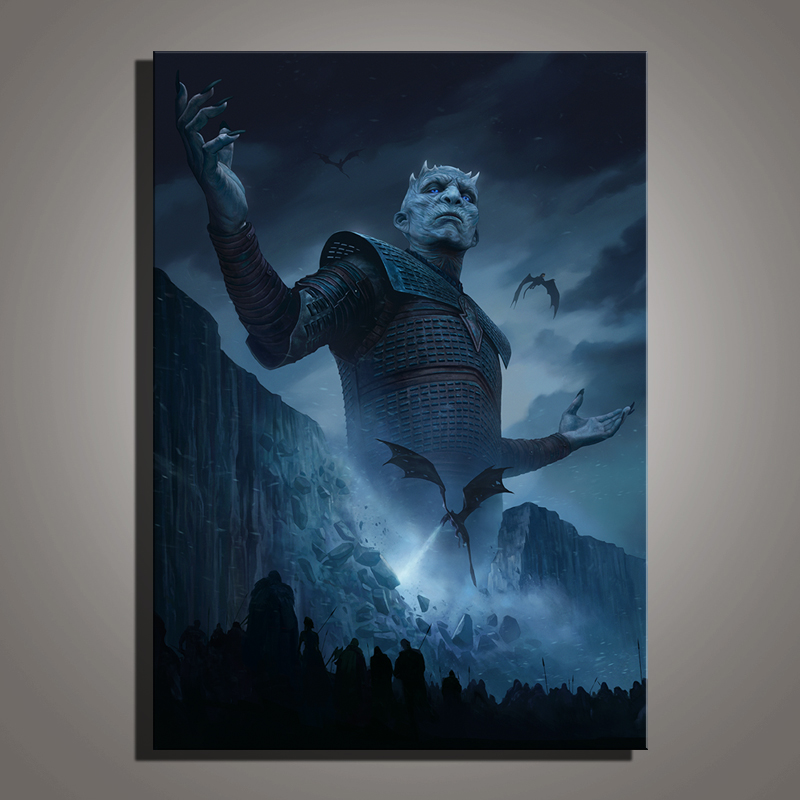 HD Print US TV Show Game of Thrones Boss Night's King Painting Season 8 Ice Dragon Movie Poster Wall Art Home Decor image