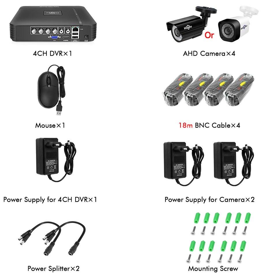 Image 5 - Hiseeu 4CH CCTV System 1080P HDMI AHD CCTV DVR 4PCS 1080P 2.0 MP Option IR Outdoor Security Camera AHD Camera Surveillance Kit-in Surveillance System from Security & Protection