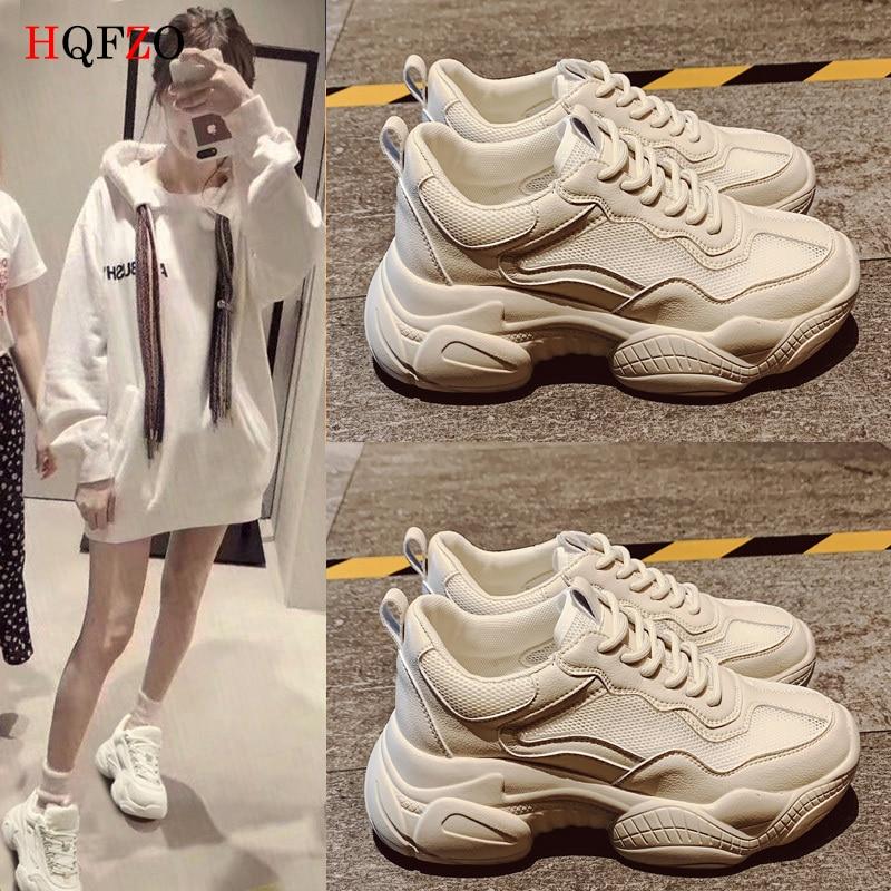 HQFZO Pantshoes Comfy Breathable Mesh Trainers Chunky Heels 5cm Women's Platform Sneakers Women Shoes Casual Female Shoes
