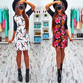 2017 Весна женская Мода Новый Печать Платья о-образным вырезом Половина Рукава Оболочки Dress Случайный Стиль Комфортно Довольно Облачении
